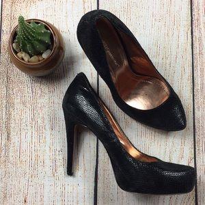 [BCBG] Black Leather Scale Pump Heels Size 7